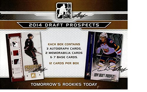 - 2014-2015 Leaf in the Game (ITG) Draft Prospects Hockey Factory Sealed Hobby Box - Features Many of the Elite Prospects in This Year's Draft Including Aaron Ekblad, Sam Bennett, Leon Draisaitl, and Sam Reinhart. In All, You Will Find Nearly All of the Top 20 Projected Picks in the 2014 Draft (Including the Top Five) Product Highlights: - Each Box Will Contain 12 Cards. Three Autograph Cards, Two Authentic Game-used Memorabilia Cards and Seven Premium Base Cards.