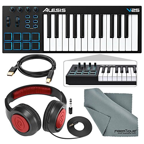 (Alesis V25 25-Key USB MIDI Keyboard Controller & Drum Pad with Samson Over-Ear Headphones, Cable, and Microfiber Cloth)