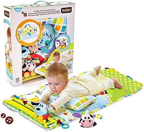 Baby Tummy Time Mat by Yookidoo. Newborn Musical Playmat & Outdoor Gym. Pillow, Teething Toys and Portable Fold-Up Case. 0- 12 months.