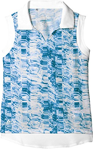 adidas Golf Girls Printed Sleeveless Polo Shirt, Night Sky, X-Large (Adidas Ladies Climacool Sleeveless Tops)