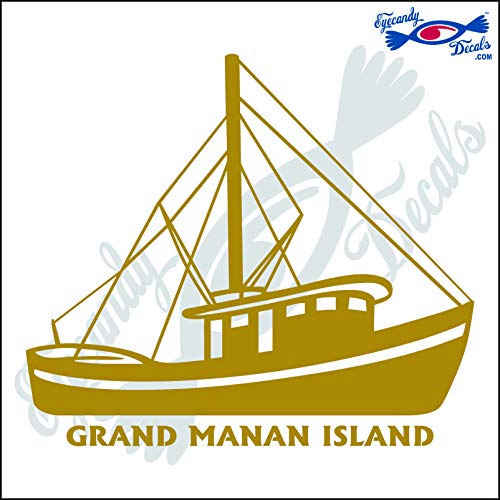 Eyecandy Decals Canada Shrimp Boat with Grand MANAN Island 6 INCH Decal Gold