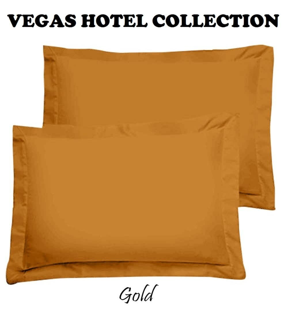 VEGAS HOTEL COLLECTION Superior Soft Quality Egyptian Cotton Luxurious 2-Piece Pillow Shams Standard Size ( 20'' x 26'' ) Gold Solid ( 600-Thread-Count ) by VEGAS HOTEL COLLECTION