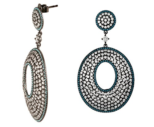 SILBER JR Black Rhodium Sterling Silver CZ Turquoise Drop Earrings (black-rhodium-plated-silver)