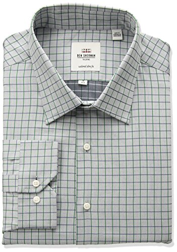 Ben Sherman Men's Slim Fit Twill Check Spread Collar Dress Shirt, Blue/Green, 18 (Ben Sherman Check Shirt)