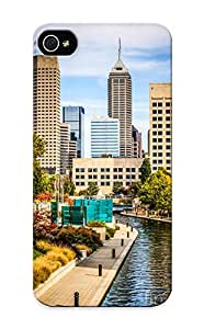 Kathewade Rugged Skin Case Cover For Iphone 5/5s- Eco-friendly Packaging(indianapolis Skyline Picture Of Canal Walk In Autumn)