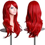 Women's Heat Resistant 28 inch 70cm Red Long Big Wavy Curly Hair Wig with Free Wig Cap