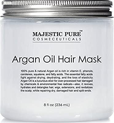 Argan Oil Hair Mask from Majestic Pure, 8 fl. oz - Natural Hair Care Product, Hydrating & Restorative Hair Repair Mask