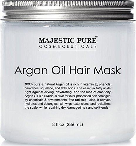 Argan Oil Hair Mask from Majestic Pure, 8 fl. oz - Natural Hair Care Product, Hydrating & Restorative Hair Repair Mask