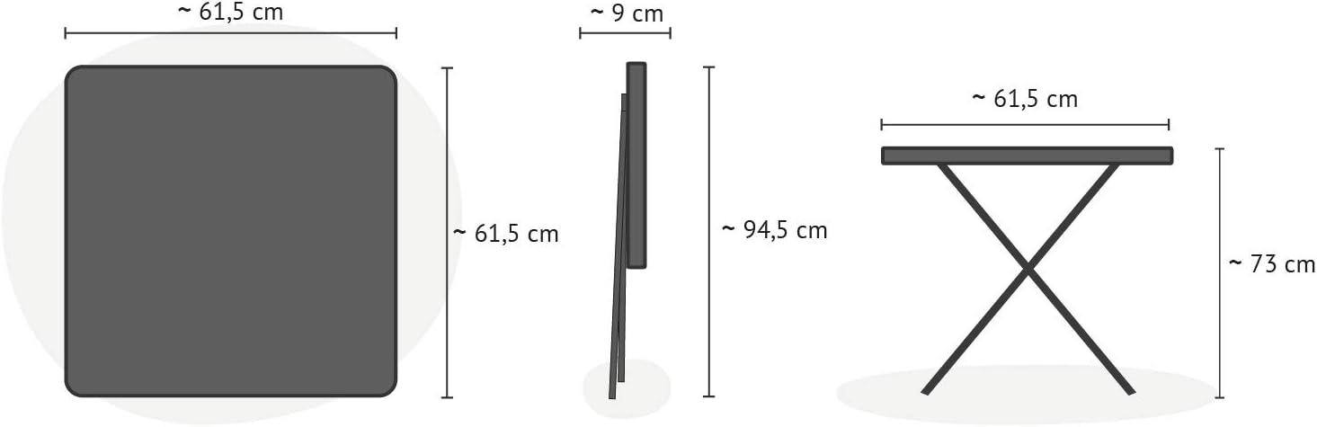 Forma Quadrata 61,5 x 61,5 x 73 cm Robusta Struttura in Acciaio e Piano in Plastica HDPE Effetto Rattan Park Alley Tavolino Pieghevole da Giardino Nero