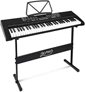 ALPHA 61 Keys Electronic Piano Keyboard Portable Battery Electric Piano with USB Input, Headphone Output, Adaptor, Battery Mode