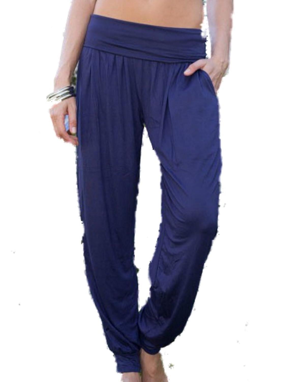 White Mark Women's Harem Pants, Loose Comfort Fit