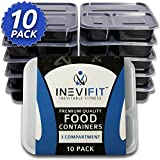 INEVIFIT Meal Prep 3 Compartment BPA FREE, Premium Food Storage Containers, Durable & Reusable, 36 oz. Stackable 10 Pack, Microwaveable & Dishwasher Safe Bento Lunch Box with Leak Resistant Technology
