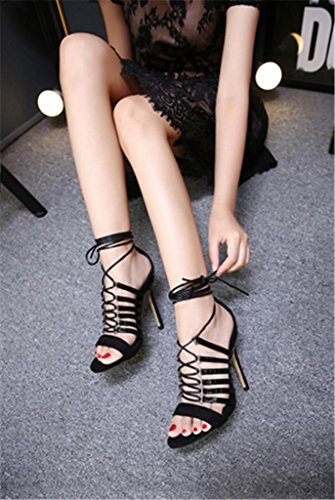 MNII?Womens?Shoe Black Fashion There Stilettos Peep Toes High Heels Strappy Sandals Shoes- Fashion summer Black 3V72ei1Y