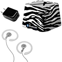 Xit Audio Bluetooth Wireless Mini Portable Speaker System for iPods, iPhones, iPads, Androids, and MP3 Players (Zebra) with Coosh Extra Comfortable Headphones & USB AC Adapter