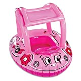 AquaLeisure SwimSchool Sunshade Canopy Buggy Inflatable Swimming Pool Baby Boat Float in Pink