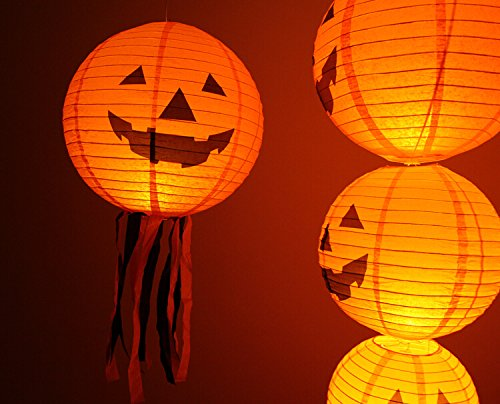 Charmed 10 inch halloween jack o lantern pumpkin paper lanterns orange (10 count)]()