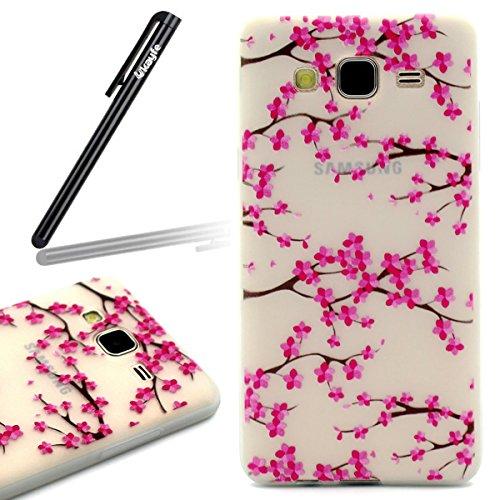 Funda para Samsung Galaxy S6, Galaxy S6 TPU funda de silicona transparente noctilucent Carcasa ultra-slim Cover Skin Shell, Ukayfe caso de la cubierta de la caja protectora del caso de goma Ultra Delg flor del ciruelo