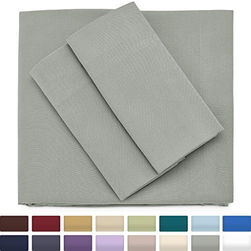 Premium Bamboo Bed Sheets - Full Size, Light Grey Sheet Set - Deep Pocket - Ultra Soft Cool Bedding - Hypoallergenic Blend From Natural Bamboo - 1 Fitted, 1 Flat, 2 Pillow Cases - 4 Piece
