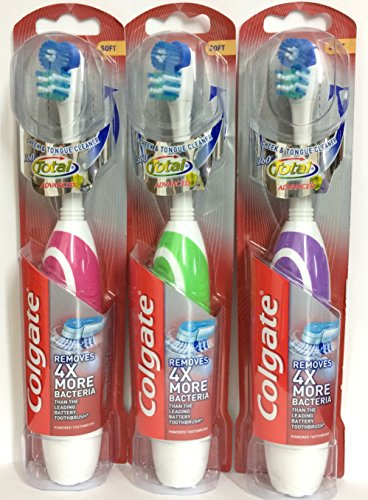 Colgate 360 Total Advanced, Battery Toothbrush, Soft. UPC: 035000688231. Pack of 3.