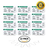 MedSci Global Suture Thread with Needle (12-Pack) - Training Sutures Pkg. of 12
