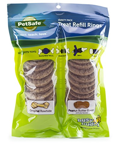 PetSafe Natural Rawhide Rings, Dog Toy Treat Ring Refills for Busy Buddy Dog Toys, Small, Medium, Large and Variety Packs Available in Peanut Butter and Original ()