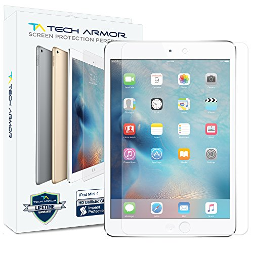 Tech Armor Ballistic Glass Screen Protector Designed for Apple iPad Mini 5 (2019), iPad Mini 4 - Case-Friendly, Tempered Glass, Ultra-Thin, Scratch and Impact Protection - Ipad Mini Apple Screen Protector