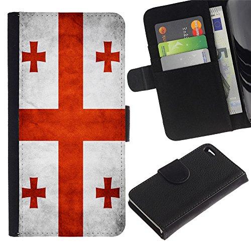 EuroCase - Apple Iphone 4 / 4S - Georgia Grunge Flag - Cuir PU Coverture Shell Armure Coque Coq Cas Etui Housse Case Cover