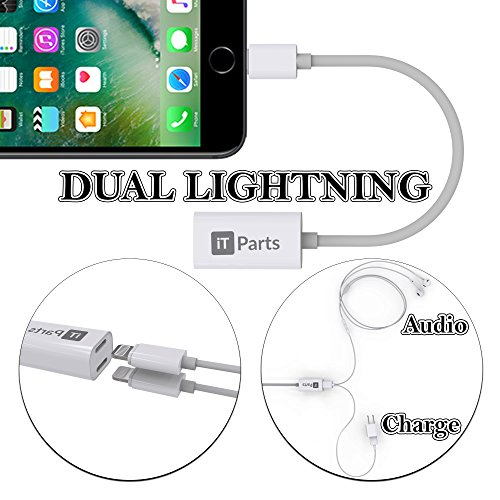iTParts Lightning Audio + Charge & Sync DoubleStar for iPhone 7 and iPhone 7 Plus, Use Lightning Headphones and Charge at the Same Time