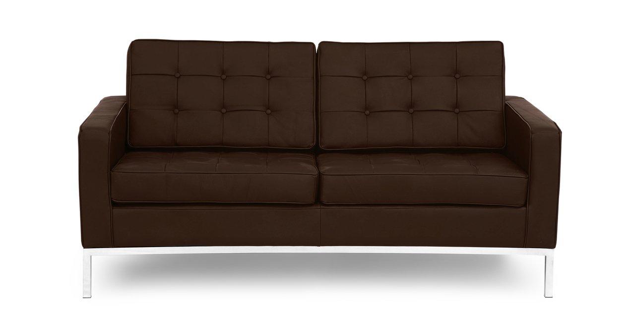 Kardiel Florence Knoll Style 100% Full Genuine Loveseat, Espresso Standard Leather