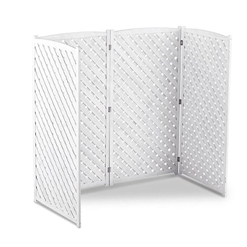 White Outdoor 4 Panel Wood 60'' Height Air Conditioner Screen Privacy Fence Hideaway by Home Improvements