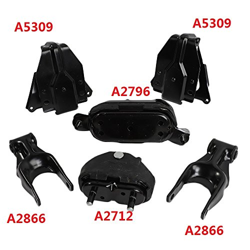 6PCS Engine Motor & Trans Mount Set for 1997-2003 Pontiac Grand Prix 3.8L fits A2712 A2796 A2866 A2866 A5309 A5309 (Motor Mounting Bracket Engine)