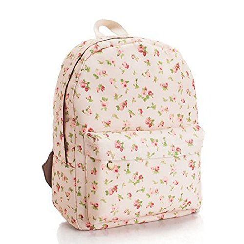 Hanshu Canvas Small Floral Backpack School Bag College Daypack, Light Pink Floral (Mossimo Black Belt)