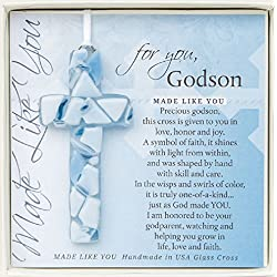 For You, Godson Blue Mosaic Handmade Glass Cross