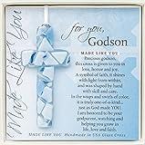 For You, Godson Blue Mosaic Handmade Glass Cross