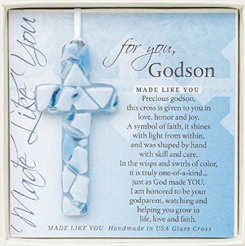For You, Godson Blue Mosaic Handmade Glass Cross -