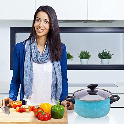 Cookware Set Nonstick 9-piece Stainless by LUFEIYA (Blue)