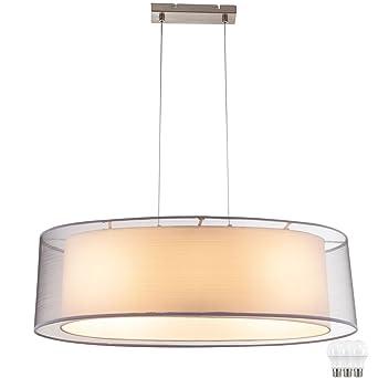 Pendel Leuchte Esszimmer Decken Textil Schirm Hange Lampe Strahler