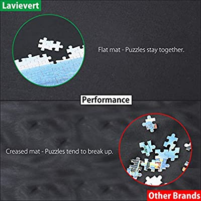 LAVIEVERT Jigsaw Puzzle Roll Mat Puzzle Storage Saver Black Felt Mat, Long Box Package, No Folded Creases, Jigroll Up to 1,500 Pieces - Comes with A Drawstring Opening Design Bag: Toys & Games