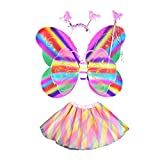 LUOEM 4 Pcs Girls Butterfly Costume Set Rainbow Tutu Skirt with Butterfly Wings Headband and Fairy Fancy Dress-up Outfit for Halloween Birthday Cosplay Party Favor