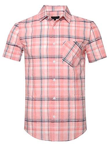 b9867e9678e SOOPO Mens Casual Regular Fit Short Sleeve Plaid Checked Shirts B-Pink  X-Large