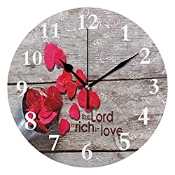 SHNUFHBD Christian Love Non Ticking Silent Rhombus Wall Clock Decorative, Battery Operated Analog Quiet Round Wall Clock, for Living Room, Kitchen, Bedroom