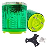 Aolyty Wireless 3 Screws Solar Powered Strobe Warning Light Flashing Beacon Super Bright Waterproof, can weld or bolt, Surface Mounted 1 Pack (Green)