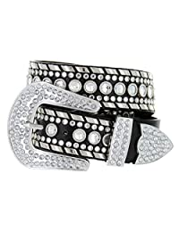 Western Cowgirl Bling Belt with Rhinestone Buckle Set and Studded Strap (40, Black)