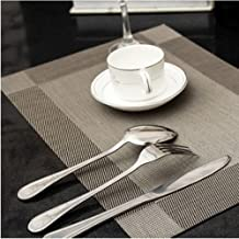 4 Pieces PVC Placemat Tablemat Heat-Proof Table Mat Home Decor Gift Dining Room Placemats Plastic 30x45cm (Silver)