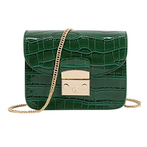 Candice Women Mini Fashion PU leather Chain Handbag Shoulder Bag Evening Bag Purse(Green)