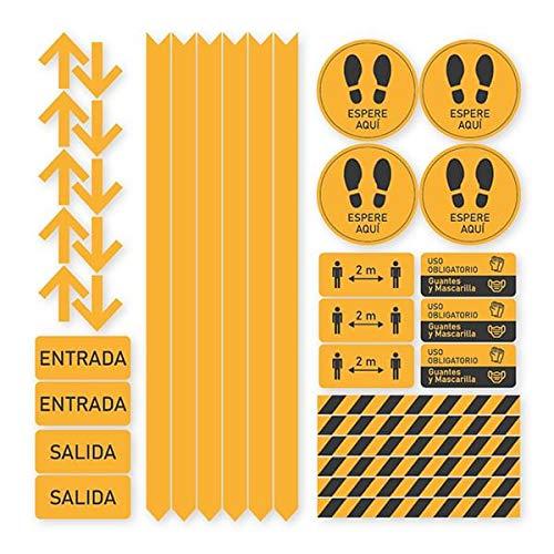 Pack 36 Vinilos Señalización Distancias de Seguridad   Adhesivos de Medidas de Protección y Seguridad para suelo o paredes   Vinilo para crear Limitaciones, Circulación y Zonas de Espera (NARANJA)