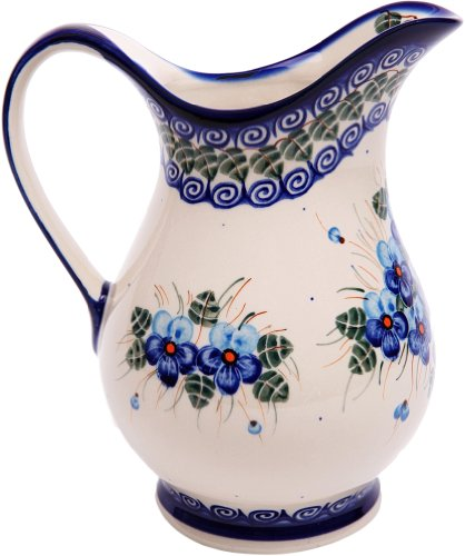 Polish Pottery Ceramika Boleslawiec, 0204/162, Pitcher K, 4 1/4 Cups, Royal Blue Patterns with Blue Pansy Flower Motif