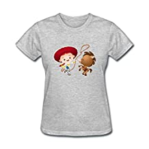 Xiaoqiu Women's Toy Story Jessie And Horse Short Sleeve T-shirt XL Grey