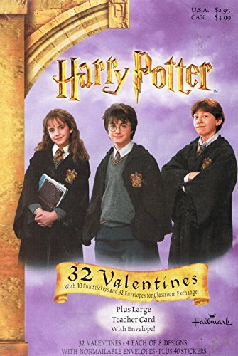 Harry Potter Set of 32 Valentines and Envelopes + 4 Sheets of Stickers