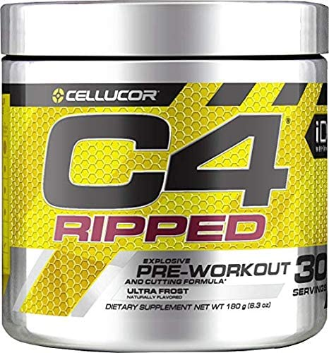 Cellucor C4 Ripped Pre Workout Powder Ultra Frost Creatine Free Sugar Free Preworkout Energy Supplement for Men Women 150mg Caffeine Beta Alanine Weight Loss 30 Servings